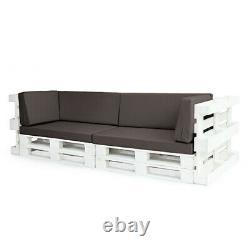 Grey 6pc Sofa Set Waterproof Euro Pallet Size Coussins Meubles De Jardin Extérieurs