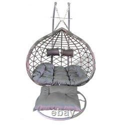 Grey Double Rattan Effect Hanging Egg Chair Swing Patio Room Garden Cushion Foot