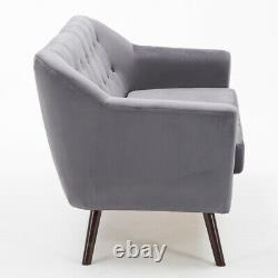 Grey Fabric Velvet Sofa 2 Seater Tub Chair Love Seat Coussined Two-person Settee