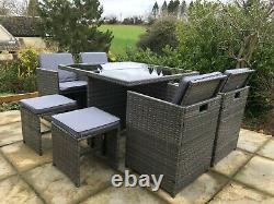 Grey Rattan 9 Piece Cube Garden Furniture Set New Fully Assembled