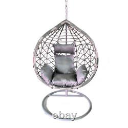 Grey Rattan Effect Hanging Egg Chair Swing Patio Garden Room Coussin Foot