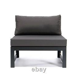 Grey Rattan Patio Jardin Extérieur Canapé Set Corner Meubles Settee Aluminium