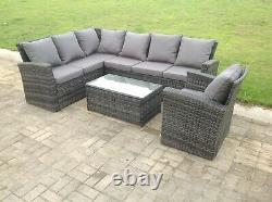 Grey Wicker Rattan Garden Furniture Sets Corner Sofa Table Basse Patio Extérieur
