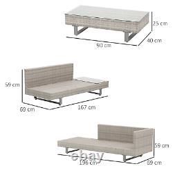 Gris Rattan Patio Meubles Corner Canapé Chaises Jardin Set Table De Café En Plein Air