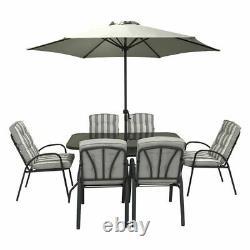 Hectare Outdoor Garden Patio Dining Set Hadleigh 6 Seater & Parasol Grey
