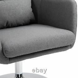 Homcom Élégant Retro Lin Swivel Tub Chaise En Acier Cadre Coussin Wide Seat Grey