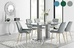 Imperia 6 Table À Manger Grise Et 6 Chaises Pesaro