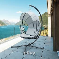 Jarder Luna Egg Chair Hanging Swing Seat Patio Garden Gris Clair Extérieur