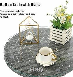 Jardin Extérieur 3 Pcs Rattan Meubles Set 2 Fauteuil Avec Coussin 1 Table À Café