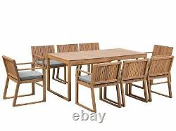 Jardin Extérieur Acacia Wood Dining Set Table 8 Chaises Coussins Gris Sassari