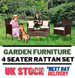 Jardin Meubles D'extérieur Rattan Set 4pc Chaise De Table Canapé Pour La Cour De Salon Patio