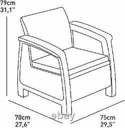 Keter Corfu Lounge Set Outdoor 4 Seater Rattan Garden Chaises De Table