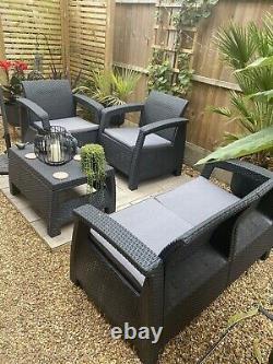 Keter Corfu Set Garden Furniture Set Canapé, 2 Chaises, Table, Gris, Cushions Inc