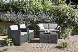 Keter Monaco Garden Furniture Plastic Lounge Ensemble Avec Table De Rangement Étanche