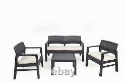 Kilimandjaro 4 Pc Table 2 Canapé De Siège Et 2 Chaises Rattan Garden Meubles Bistro Set