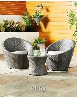 Kingfisher Bistro Egg Vase 3pc Table Et 2 Chaises Rattan Effect Set Garden Stack
