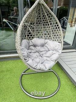 Luxury Rattan Swing Patio Garden Egg Chair & Coussin Grey En Stock Maintenant