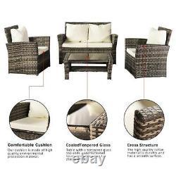 MIX Grey Rattan Wicker Patio Garden Furniture Set 4 Seat Sofa Set Fauteuil Royaume-uni