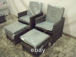 Maze Living Rattan Cube Chaises De Jardin Extérieures X2 & Tabourets X2