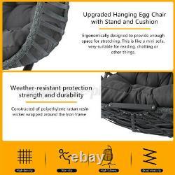 Meigar Rattan Swing Egg Chaise De Suspension Chaise Simple Avec Coussin Patio Garden Home