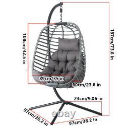 Meigar Suspension De Chaise D'oeufs À Balançoire De Rotin Avec Assises Et Coussins Et Meubles De Jardin Stand