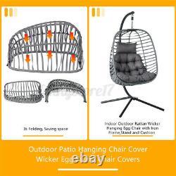 Meigar Suspension Egg Chaise Rattan Swing Chaise Pliable Simple Avec Jardin En Coussin