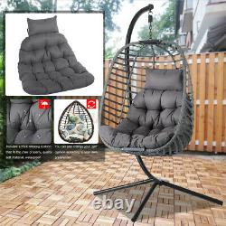 Meigar Swing Egg Chaise Suspendu Rattan Chaise Pliante Single Avec Jardin De Coussin