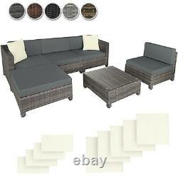 Meubles De Jardin Ensemble Poly Rattan Chairs Table Seat Coussins Balcon Extérieur Nouveau