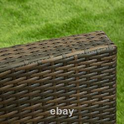 Meubles De Jardin Rattan 4 Pièces Patio Set Chaises De Table Gris Noir Et Brun