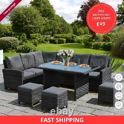 Meubles De Jardin Rattan 6 Pièces Patio Set Chaises De Table 9 Seater MIX Gris Brown
