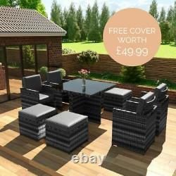 Meubles De Jardin Rattan 8 Seater Table Cube Set Avec Des Chaises Et Des Tabourets De Bras