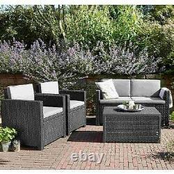 Meubles De Jardin Sofa Set Table Chairs Rattan Cushion Weatherproof Grey