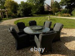 Meubles Gris De Jardin De Rotin De Charbon De Bois Dînant La Table De 1.5m Et 6 Chaises Patio Extérieur