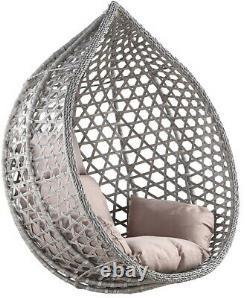 Nardo Rattan Swing Suspension Egg Chaise Jardin Intérieur Extérieur Gris Grand