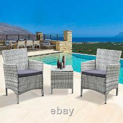 Neo 3 Pièces Rattan Garden Meubles Bistro Set Chaise Table De Café Patio Extérieur