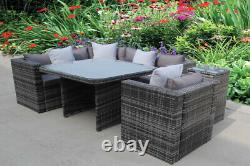Nouveau Rattan Dining Garden Wicker Outdoor Conservatory Corner Sofa Furniture Set
