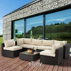 Nouveau Rattan Garden Meubles Corner Canapé Set Extérieur Patio U Shape Canapé Set 7 Pcs