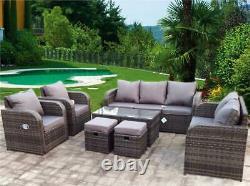 Nouveau Rattan Garden Wicker Outdoor Conservatory Corner Sofa Furniture Set Incliner