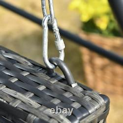 Outsunny 2 Seater Patio Rattan Swing Chaise Suspendue Avec Coussin Rembourré