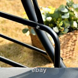 Outsunny 2-en-1 Patio Swing Chair 3 Seater Hammock Cushion Bed Tilt Canopy Grey