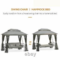 Outsunny 3 Seater Swing Chair Hammock Gazebo Patio Banc Coussins D'extérieur Gris