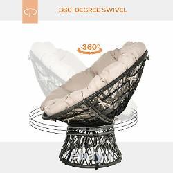 Outsunny 360° Swivel Rattan Papasan Moon Bowl Chaise Ronde En Plein Air Avec Rembourré-grey