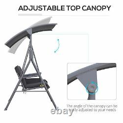 Outsunny Outdoor 2-seater Swing Chair Sun Shade Coussined Réglable Canopy-grey