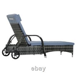 Outsunny Wicker Réglable Rattan Sun Lounner Chaise Inclinable Avec Cushion Grey