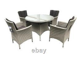 Pagode Portofino 4 Seat Rattan Garden Furniture Dining Set Extérieur Nouveau