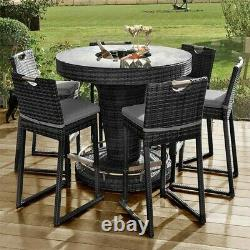 Palerme Maze Rattan 6 Seater Garden Bar Set Ice Bucket Uv Parasol Coussins Patio