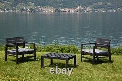 Patio Set Garden 3 Pièces Meubles Ensemble De 2 Chaises 1 Table À Café Et Coussins