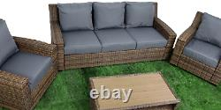 Patioking Brown Rattan Garden Furniture Set 4 Coussins Gris Pcs 5 Seater Sofa Ch