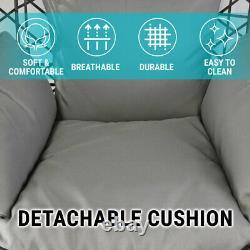 Pendaison Egg Chair Swing Hammac Coussin Rattan Witan Indoor Outdoor Lounge Grey