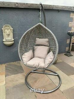 Pendaison Egg Chair Swing Single Grey Avec Coussin Pe Rattan